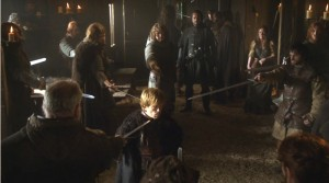 Tyrion being arrested by Catelyn's soldiers.