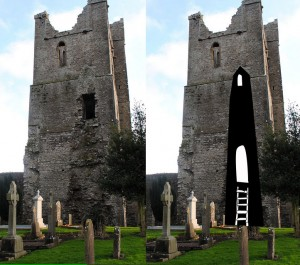The side view showing the ghostly utline of the round tower that once stood on the site. Note the doorway near what would have been the top of the tower, suggesting the round tower may have served as a staircase for a time. (Original photo credit: ShanClarke23 on flickr via creative commons license)