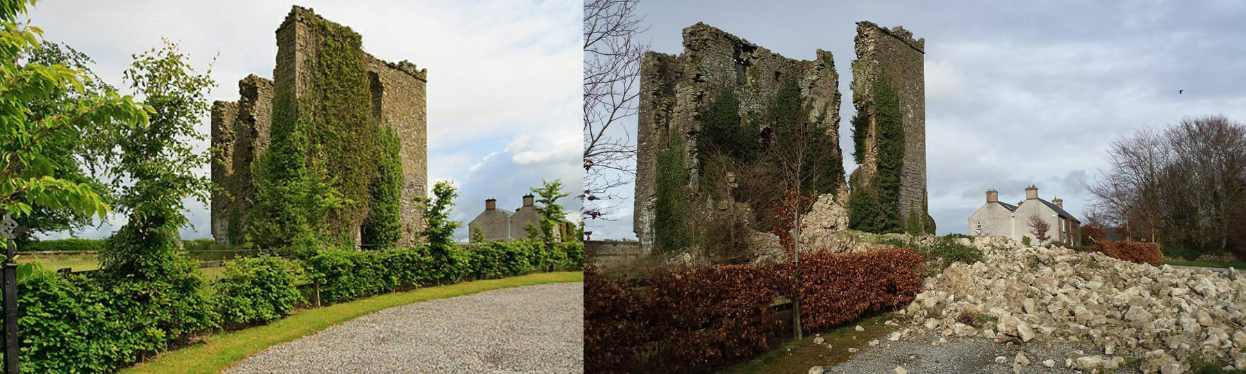 Coolbanagher Castle last year, and immediately after the storm on February 17. (photos courtesy of Laois Archaeology)