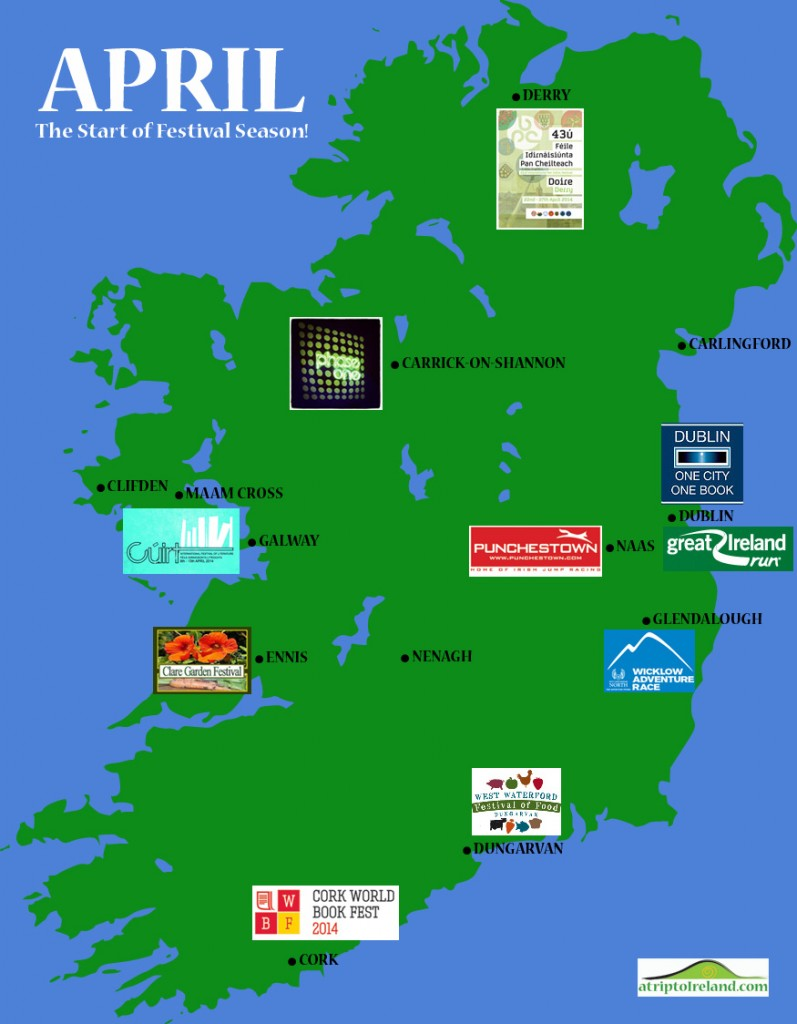 Map of April Festivals in Ireland
