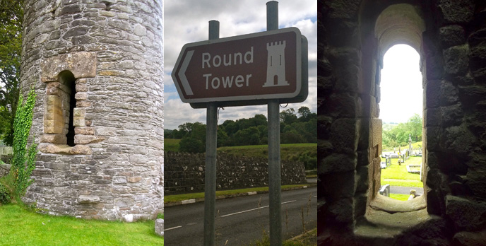 Armoy Round Tower. (L) the step below the door. (R) view from the inside looking out. (Photos: atriptoIreland.com)